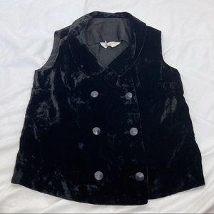 Vintage velvet sleeveless top double breasted vest